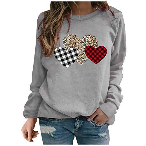 Femme Sweatshirt sans Capuche Long Coton Chic Hiver Manche Longue Sweat-Shirt T-Shirt Tee Tops Haut VêTements Sweat Imprimé Amour Chemise Chemisier Gris XL