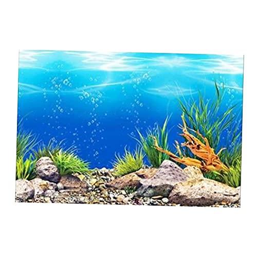FLAMEER Fish Tank 3D Effet Océan Fond, PVC Adhésif Monde sous-Marin Aquarium Décor Étanche Toile de Fond Affiche Papier Peint Paysage Autocollant - 50x82cm