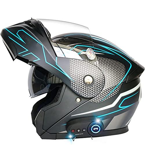 BYBYGXQ Casco Integral Bluetooth Aprobado ECE Casco Modular Abatible Carreras Motocicletas con Visera Moto Ciclomotor Casco Urbano Casco Inteligente Casco Motocross Todo Terreno