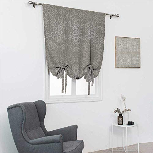 """HouseLook Window Curtains Grey Blackout Roman Shades Victorian Lace Flowers and Leaves Retro Background Old Fashioned Graphic Print for Baby's Window Warm Taupe Beige Rod Pocket Panel, 36"""" W x 72"""" L"""