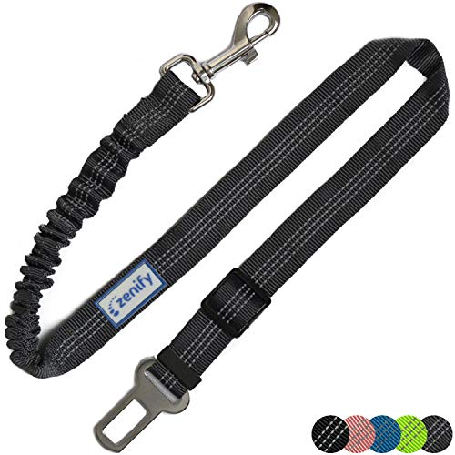 Zenify Dog Car Seat Belt Seatbelt Lead Puppy Harness - Extendable Bungee Adjustable Carseat Clip Buckle Leash for Dogs Puppies Pets Travel - Pet Safe Collar Accessories Supplies Truck Safety (Grey)