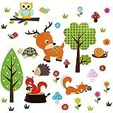 OOTSR Pegatinas de Pared de Bosque animal, Adhesivos Pared Vinilo Pared Decorativos para Cuarto De Niños Cuarto De Los Niños Guardería Aula