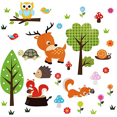 OOTSR Pegatinas de Pared de Bosque animal, Adhesivos Pared Vinilo Pared Decorativos para Cuarto De Niños Cuarto De Los Niños Guardería Aula ✅