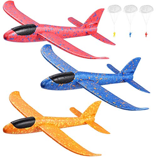 Toyvian 3er Pack Flugzeugspielzeug 14.57foam Segelflugzeug manuelles Werfen Spaß Herausforderung Modellflugschaum Outdoor-Sportspielzeug fliegendes Spielzeug für Kinder mit 3 Fallschirmjägern