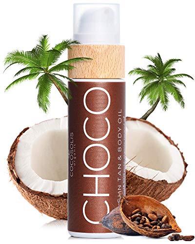 COCOSOLIS Choco - Huile bronzante chocolat, huile Bio pour un bronzage naturel - Crème pour un bronzage chocolat - Six huiles naturelles pour une peau éclatante - 110 ml