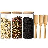 Yangbaga 1L Tarro de Vidrio de Almacenamiento, 3pcs Recipientes de Tarro Cristal Hermético con Tapa de Bambú y Cuchara Conveniente de Bambú para Almacenar Cereales/Pasta/Arroz/Harina/Legumbres…