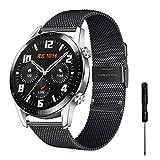 YHC Correas para Huawei Watch GT2/GT 2 Classic/GT 2 Pro Correa,Pulseras de Metal Compatible con Huawei Watch GT Sport Active Classic 46 mm