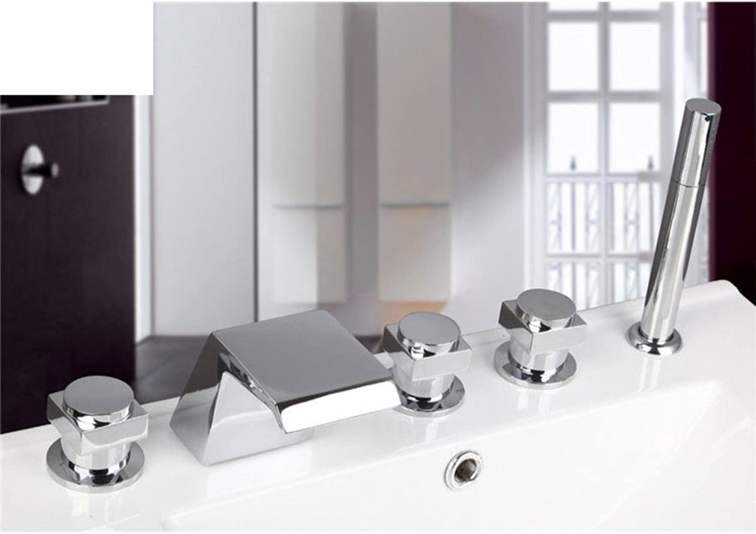 Split-hot and Cold Faucet Bathtub faucets with Five Piece of Cover Waterfall Faucet hot and Cold Showers-E
