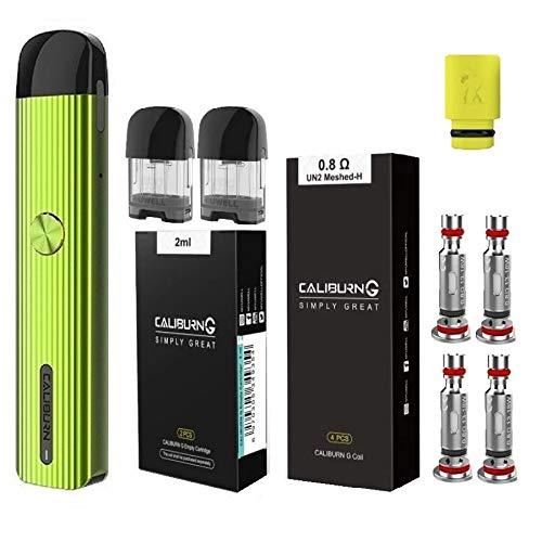 UWELL Caliburn G カリバーンジー ヴェポライザー + 交換用コイル0.8Ω(4pcs)+ 交換用POD(2pcs) + ドリップチップ(1個) オリジナル4点セット 電子タバコ スターターキット 正規品 (Green)