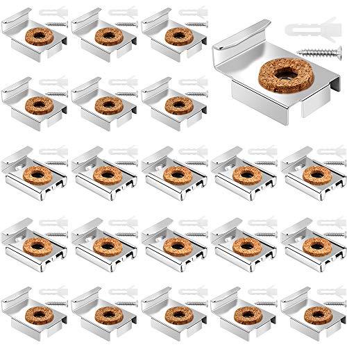 Dadabig 20 Piezas Soportes para Espejos Pared Fijación para Colgar Espejo Soporte de Metal para Espejo sin Marco con Tacos y Tornillos