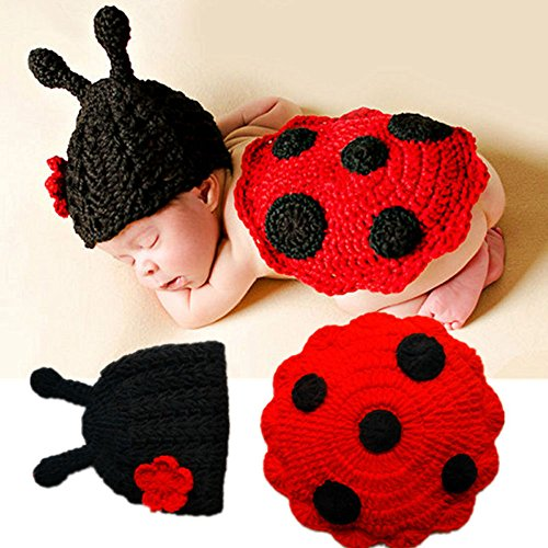 Jshuang Newborn Knitted Ladybug Hat + Clothes Photography Props Set, Suitable for 0-6 Months Babies to Wear (Red)