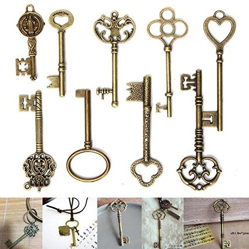Doradus 9PCS antiques pendentifs charme touches de squelette de bronze vintage pour la fabrication de bijoux bricolage