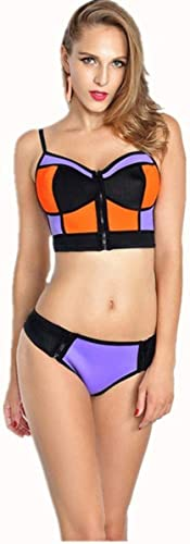 Qiusa Maillot de Bain Bikini Split Caoutchouc Les Les dames, XL (Couleuré   -, Taille   -)