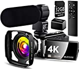 【Full Update】 4K Camcorder Vlogging Video Camera Ultra HD 60FPS Digital Recorder YouTube Camera 2.4G Remote Control IR Night Vision 3.0' IPS Touch Screen with Microphone,Wide Angle Lens,Lens Hood