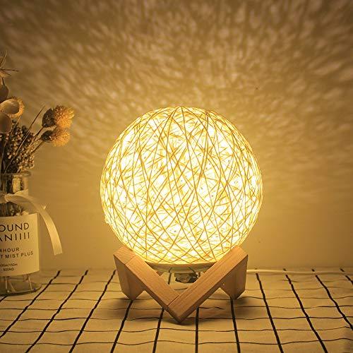 YLSMN Sepak takraw noche luz dormitorio lámpara de noche creativo tono romántico niña atmósfera estrellada regalo de cumpleaños lámpara de mesa lampara mesita de noche