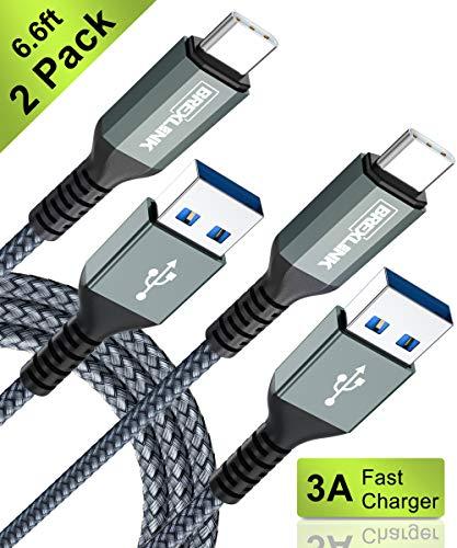 BrexLink Cable USB Tipo C 3.0 Carga Rapida [2M,2Pack], Cargador USB C to USB A de Nylon Trenzado para Samsung Galaxy S9 Note 8 S8, Xiaomi Mi a1/ a2 Redmi Note 7,Huawei p20 Lite,LG,BQ.(Gris)