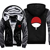 ELEFINE Boys Men's Fleece Thick Hoodies Naruto Cosplay Uchiha Itachi Mangekyo Sharingan Zip Jacket (Black&Gray, X-Large(Adult))