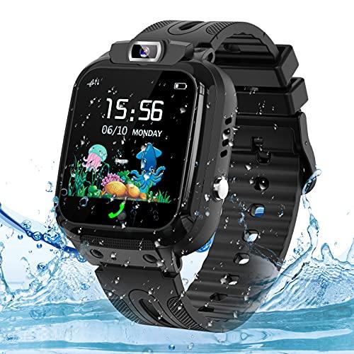 Montre GPS Enfant Tracker, Montre Connectée Enfant Téléphone avec SOS Caméra Réveil Jeux, Smartwatch Enfant pour Fille Garcon, Cadeaux d'anniversaire, Noir