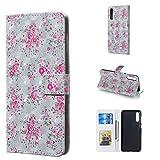 Byr883onJa Funda para smartphone Galaxy A50, diseño de rosas 3D horizontal, con soporte y ranuras para tarjetas, marco de fotos y cartera