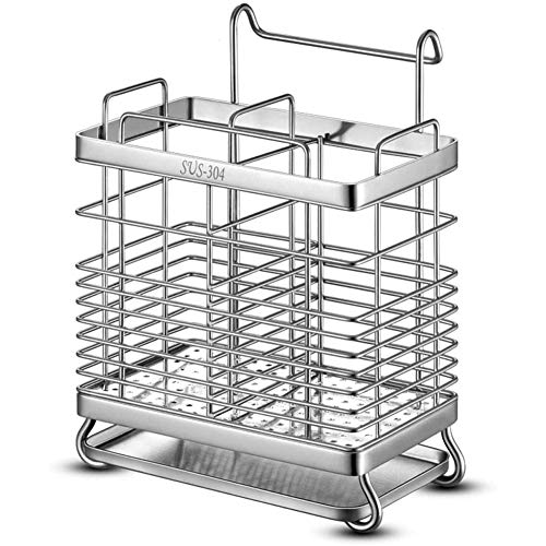 Drainer Afdruiprek Bestek Staan Metal Bestek - Compact Afdruiprek Met Lekbak En Afvoer Swivel - Grid Afdruiprek Aanrecht Aan De Lucht Drogen