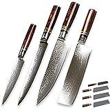 Cocina cuchillos set Cuchillo Chef Set 4 Pcs Damasco Cuchillos de cocina japonesa VG10 acero de Damasco Cuchillos Nakiri rebana vehículos Frutas Cuchillos Sets