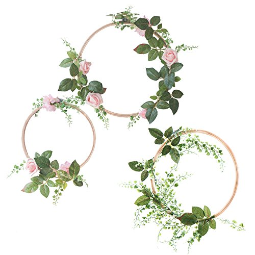 Ling's moment Pink Rose Wooden Hoop Wreath for Wedding Flowers, Bridal Showers, Baby Shower, Birthday Decor, Nursery Wall Decor, Floral Wreath for Backdrop, Table Wreath Garland (Set of 3)