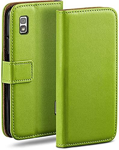 moex Klapphülle für LG Google Nexus 4 Hülle klappbar, Handyhülle mit Kartenfach, 360 Grad Schutzhülle zum klappen, Flip Hülle Book Cover, Vegan Leder Handytasche, Grün