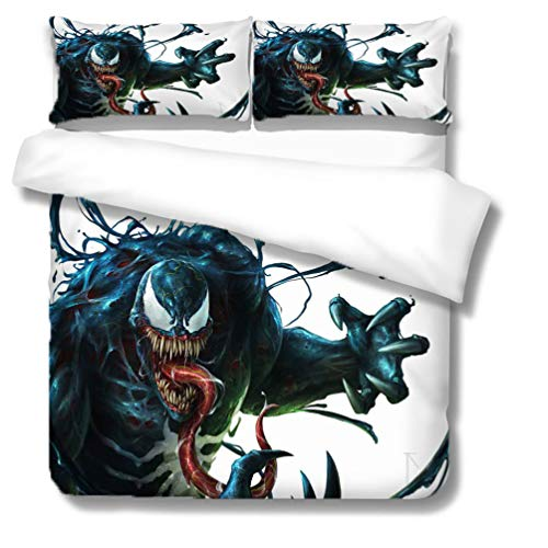 SK-YBB 3D Cartoon Venom 100% Microfibre Bedding Sets with 1 Duvet Cover and 2 Pillow Cases Suitable for Children (Venom5, SuperKing 260 x 220 cm)