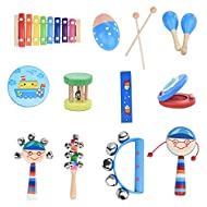 12PCS Children's Percussion Toy Set Wooden Musical Instrument Preschool Education Tool with Carrying Case