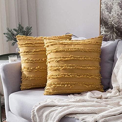 eewopjkj 2PCS Cojines Decorativos de algodón y Lino Fundas de Cojines con diseño de borlas Funda sólida para el hogar para sofá Silla Coche sofá Dormitorio Fundas de Almohada Decorativas amaril