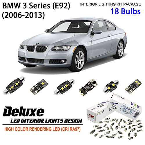 ZPL2381 (18 Bulbs) Deluxe LED Interior Light Kit 6000K Xenon White Dome Light Bulbs Replacement Upgrade for 2006-2013 BMW 3 Series (E92) Coupe