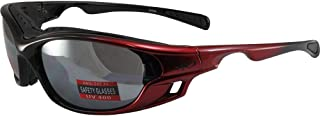Global Vision Ratchet Padded Motorcycle Safety Sunglasses Red Frames Flash Mirror Lenses ANSI Z87.1