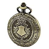 TREEWETO Reloj de bolsillo para hombre y mujer, diseño de esqueleto mecánico, caja de bronce,...