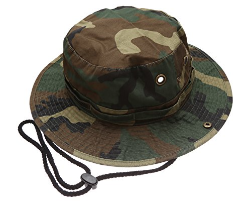 Summer Outdoor Boonie Hunting Fishing Safari Bucket Sun Hat with Adjustable Strap(Woodland,LXL)
