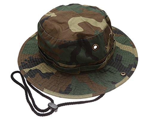Summer Outdoor Boonie Hunting Fishing Safari Bucket Sun Hat with Adjustable Strap(Woodland,SM)