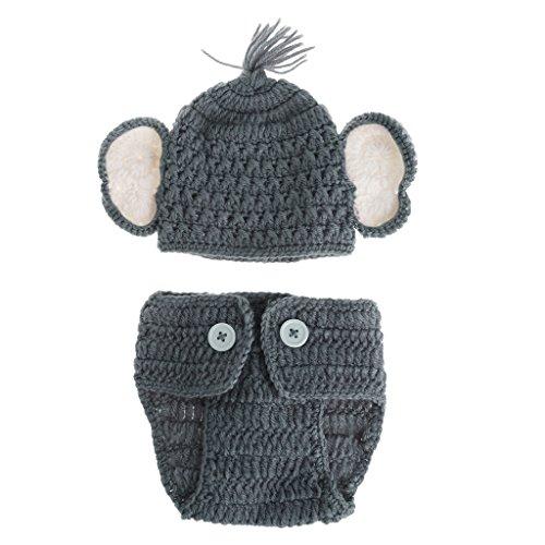 A0127 Neugeborenes Baby Elefant Stricken h?keln Hut Kost¨¹m Foto Fotografie Prop Outfits