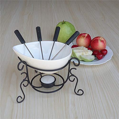 NYKK Creativa de cerámica de Chocolate Mantequilla Queso Fondue Gratuito 4 Fruto Forks Puede ser calentado por Velas for 4 Personas