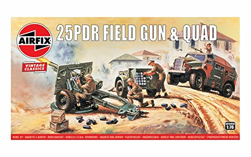 Airfix Vintage Classics 25PDR Field Gun & Quad 1:76 Military Ground Vehicles Plastic Model Kit A01305V