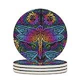 Perstonnoli Posavasos redondo de cerámica con diseño de libélula, 4 unidades, para bebidas, tazas, bares, cristal, 10 cm, color blanco, 4 unidades