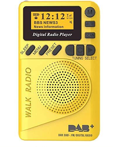 Fayeille Pocket AM/FM Radio Digital Mini Radio MP3 Musik Player tragbar DAB Audio mit LCD Display zum Wandern Joggen