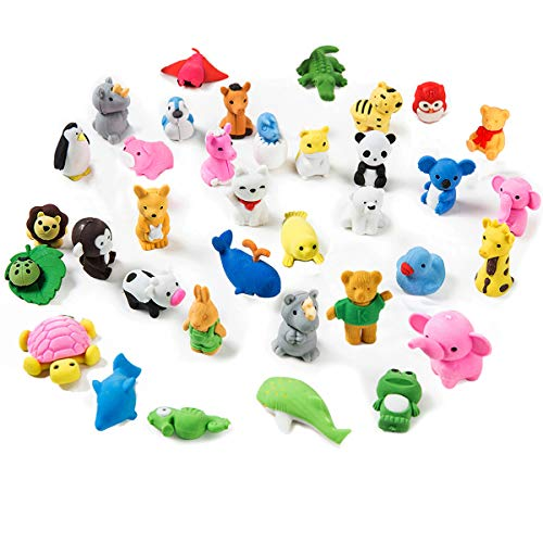 MaoXinTek Pencil Erasers for Kids Cartoon Animal Puzzle Eraser Mini Novelty for Classroom Rewards, Party Favors, Games Prizes, Carnivals Gift and School Supplies (35pcs)