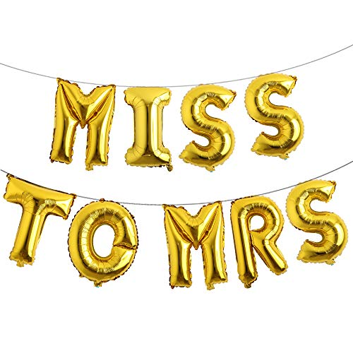16 inch Multicolor Miss to MRS Balloons Banner Foil Letters Mylar Balloons for Bachelorette Party, Wedding, Bridal Shower Cannot Float (Gold)