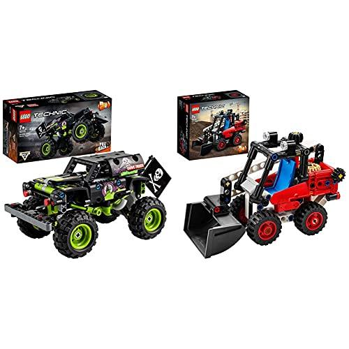 LEGO Technic Monster Jam Grave Digger E Buggy Fuoristrada Con Motore Pull-Back, Giocattoli 2 In 1 Da Costruzione & Technic Bulldozer E Bolide, Set Macchinine 2 In 1, Giocattoli Da Costruzione, 42116