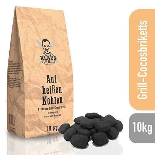 Klaus grillt auf heißen Kohlen Cocos Grillketts Premium Grillbriketts aus Kokos-Kohle - 10kg - extra Lange Brenndauer - ideal für Dutch Oven, Smoker Grillbriketts