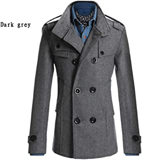 PinShang Men Winter Warm Trench Coat Reefer Jackets Solid Color Stand Collar Double Breasted Peacoat Dark gray L