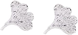 PANGRUI Gold Rose Gold Silver Small and Exquisite Ginkgo Leaf Stud Earrings for Women