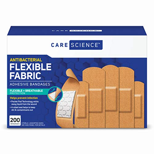 Care Science Antibacterial Fabric Adhesive Bandages, 200 ct Assorted Sizes | Flexible + Breathable...