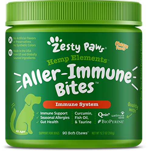 Zesty Paws Allergy Immune Soft Chews + Hemp Seed for Dogs - with Curcumin, Cod Liver Fish Oil, Beta Glucan, Vitamin C & Quercetin - Supports Dog Immune System Function + Seasonal Allergies - 90 Chews