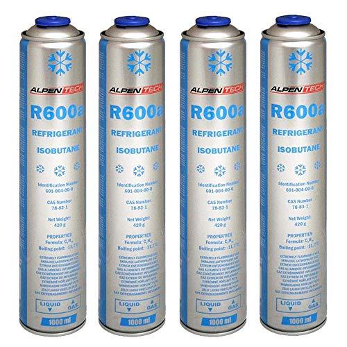 Kältemittel R600a Isobutan 420g 1000ml Gaskartusche Druckgasdose Einwegdose für Klimaanlage Kühlschrank 4 Kartuschen