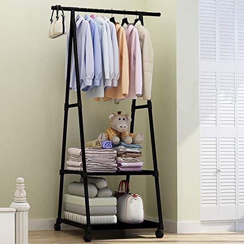 XYBB Armario Dormitorio 4 Colorido Piso De Pie Ropa Colgante Racks W/Rueda Muebles De Estilo Simple 158 * 55 * 42cm Negro